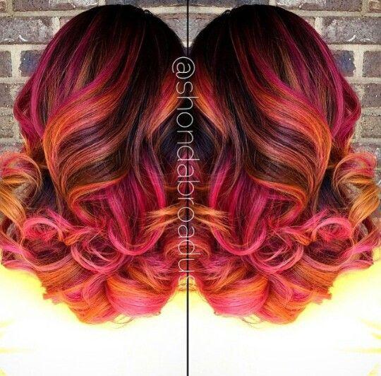 Orange pink dyed hair