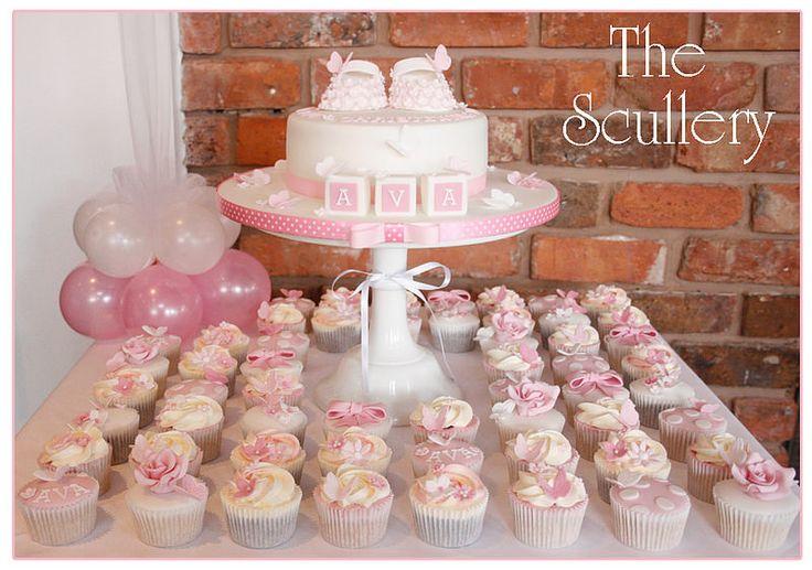 Girls Christening Cake and Cupcakes