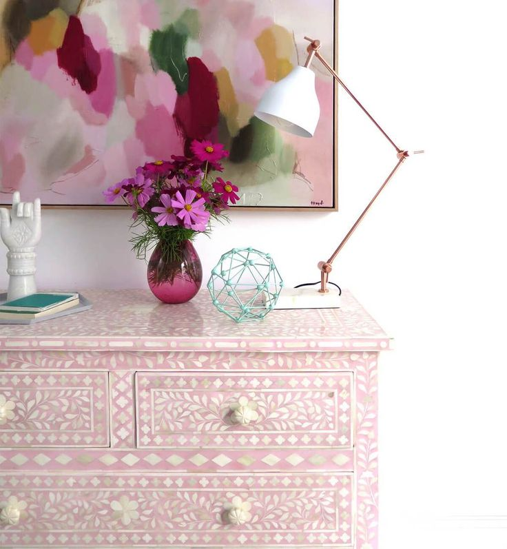 Bone Inlay 4-Drawer Commode - Floral
