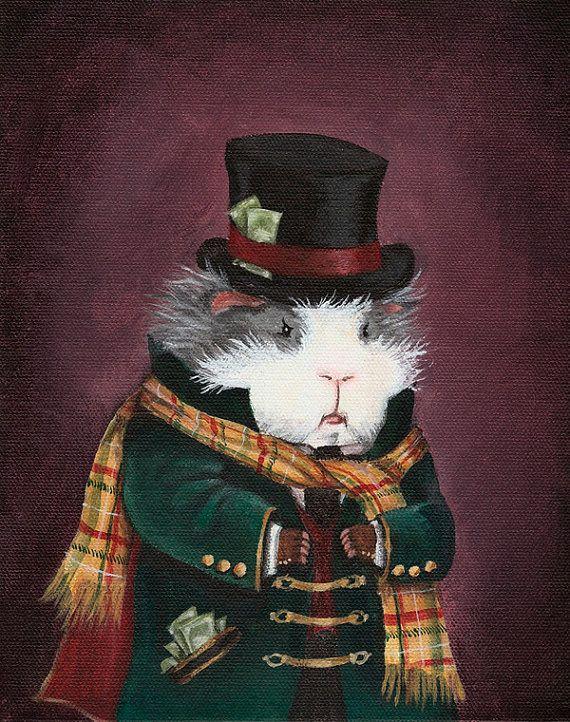 Ebenezer Scrooge Guinea Pig Christmas Art by WhenGuineaPigsFly, $10.00