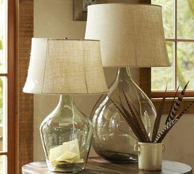 Glass lamps: Glasses Tables Lamps, Burlap Lamps, Barns Burlap, Cool Lamps, Lights Ideas, Airy Lamps, Glasses Lamps, Filament Lights, Pottery Barns