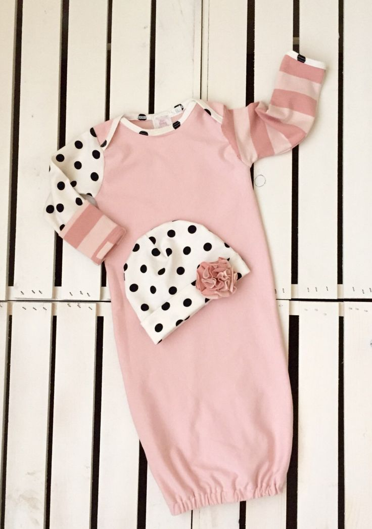baby girl gown, baby girl outfit, take home outfit, coming home outfit, newborn gown, knot headband, black/white polka dot, beanie hat by BriBabyCouture on Etsy https://www.etsy.com/listing/220187264/baby-girl-gown-baby-girl-outfit-take