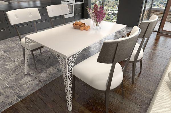 Нога для стола Париж, h.720, отделка белый бархат (матовый) - Опоры для столов