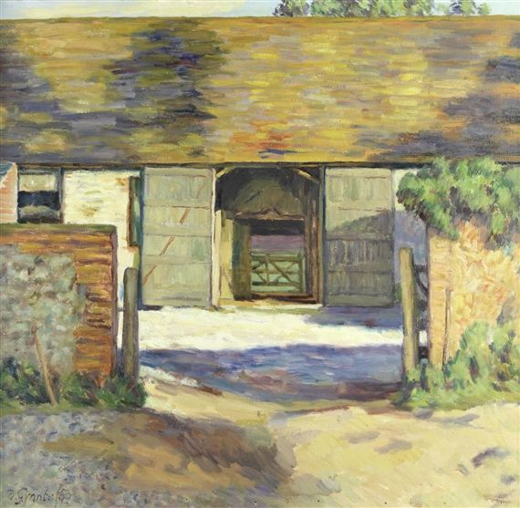 Artwork by Duncan Grant, The Barn, Charleston, Firle, Sussex, Made of Oil on canvas