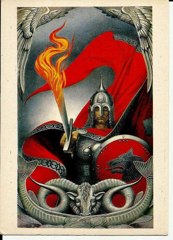 Hero Old Russia  Vintage Postcard Russian  Art work by LucyMarket