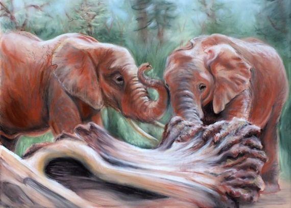 DESSIN éléphants jeu nature Animaux Pastel  - jeu d'éléphants