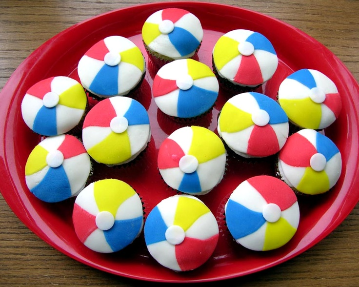 Beach Ball Cupcakes using rolled fondant (Beki Cook's Cake Blog)