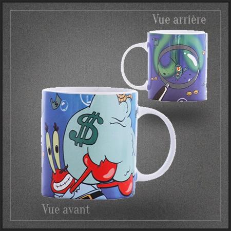 Mug Capitaine Krabs de Spongebob. Son pire ennemi Plankton est également présent sur ce mug café Bob l'éponge.