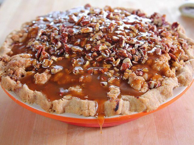 Recipe of the Day: Ree's Gooey Caramel Apple Pie [link in bio] Covered in an oat-packed crumble and crunchy pecans, Ree's homecrafted pie is separated from the rest by its very last step. Once it slides out of the oven, she douses it with sticky caramel, resulting in a caramel-apple creation that's as gooey as can be.