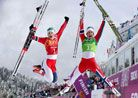 Image: (From left) Ingvild Flugstad Oestberg & Marit Bjoergen of Norway celebrate winning the gold medal in the women's cross-country team s...