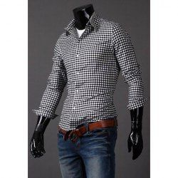 $9.96 Classic Tiny Check Polyester Spring Shirt For Men