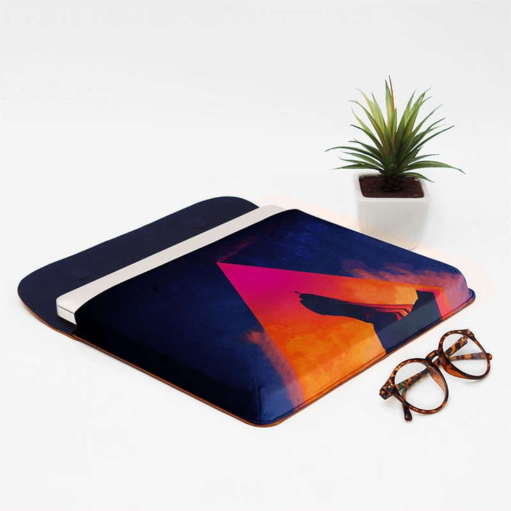 """DailyObjects Cool blue Gilgamesh Real Leather Envelope Sleeve For Macbook Pro 13"""" designed by Adam Prister. This laptop bag is also Ideal to use as a documents folder."""