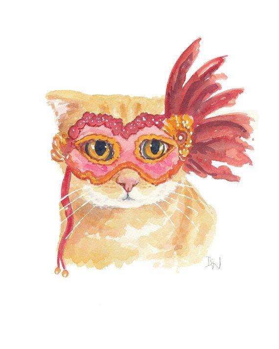 Cat Watercolor Halloween Original Painting by WaterInMyPaint, $40.00