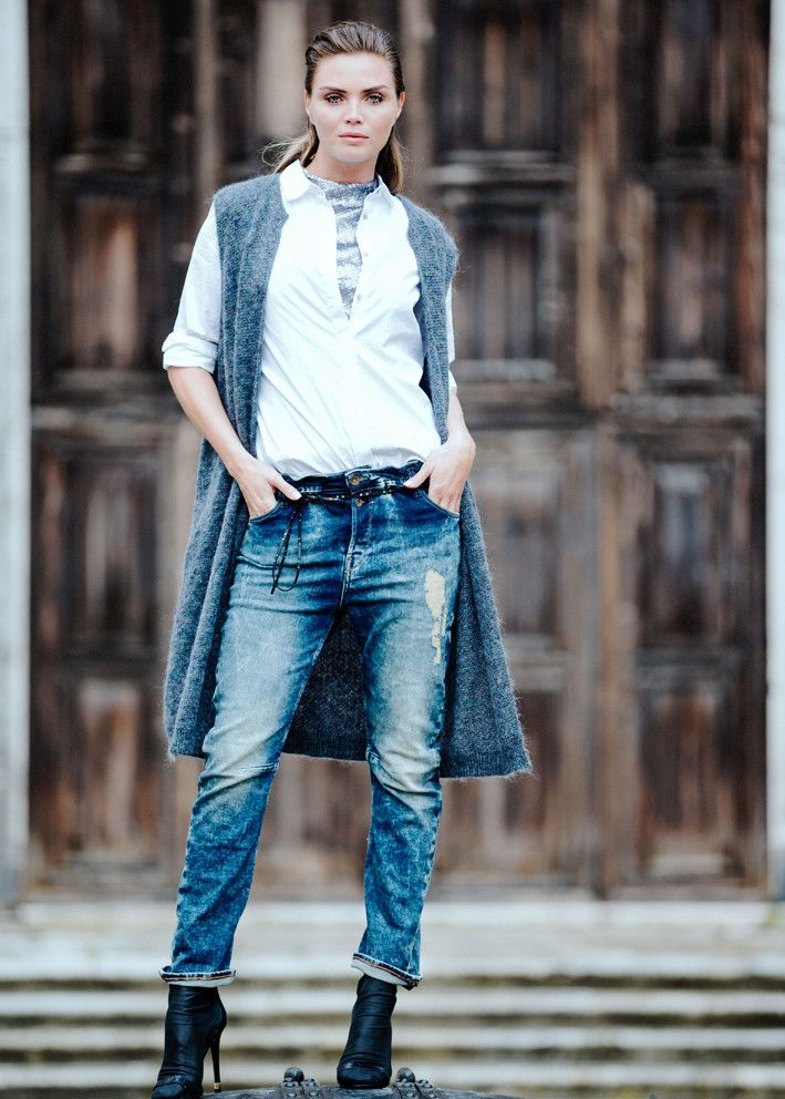 Garcia Cardigan gråblå U60051 Ladies Cardigan - washed indigo – Acorns