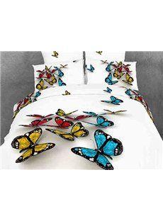 3D Butterfly Print White Color Duvet Cover 4 Piece Bedding Sets