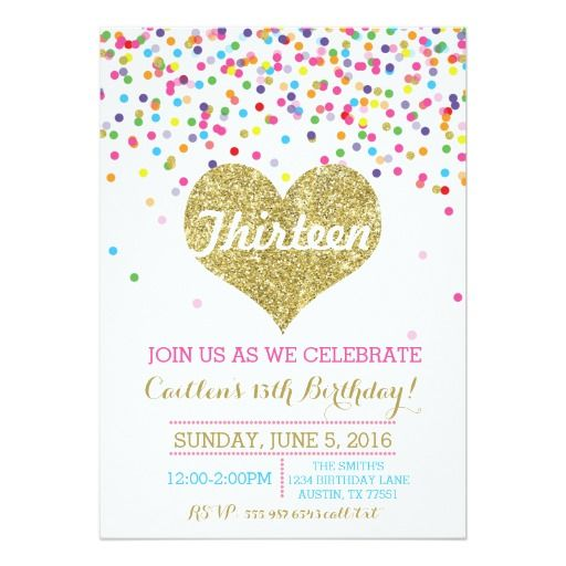 427 best colorful birthday party invitations images on pinterest confetti gold glitter birthday invitation filmwisefo