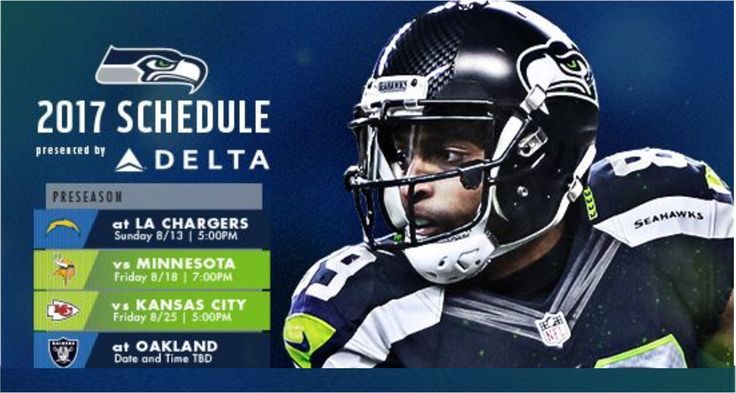 2017 Seahawks Preseason schedule - AUGUST 13!! 71 days! A Sunday preseason game? Wahoo #GoHawks