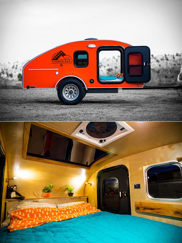Weighing in at under 1,200 pounds yet still offering everything you need for a short stay in the wilderness, the Timberleaf Camping Trailer is a smart alternative to traditional campers. The exterior is made from anodized aluminum, with colors on the side, clear anodizing on the top, and a rear hatch that opens for access to the handsome birch galley with sink, birch cooler, and colorful countertops.