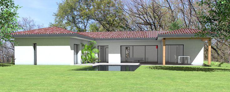 Maison contemporaine en C sur terrain en pente - Atelier Scénario - plan maison terrain pente