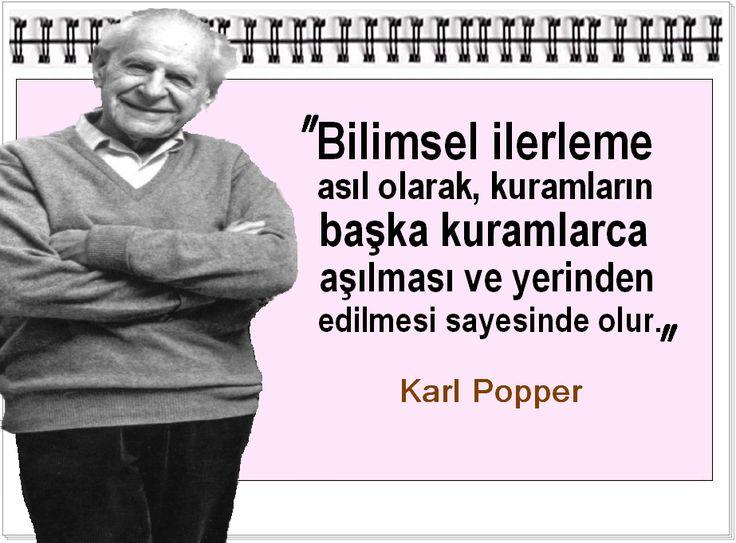 Bilimsel ilerleme asıl olarak, kuramların başka kuramlarca aşılması ve yerinden edilmesi sayesinde olur.   -Karl Popper