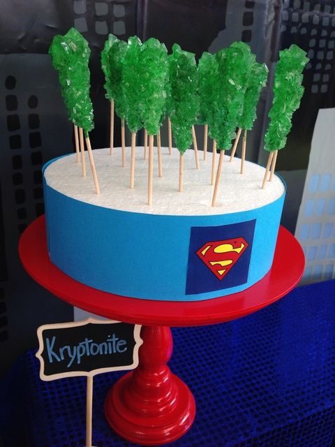Green Kryptonite at a  Superhero Party!  See more party ideas at CatchMyParty.com!  #partyideas #superhero