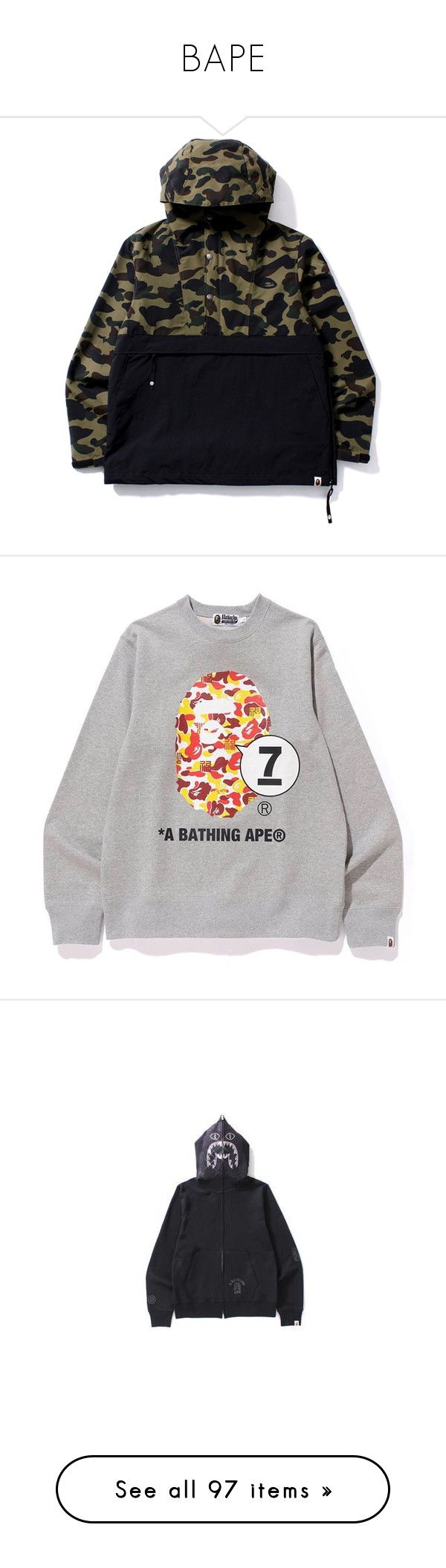 """BAPE"" by kycstyle ❤ liked on Polyvore featuring outerwear, jackets, camouflage jacket, camo jacket, pullover jacket, sweater pullover, camo print jacket, tops, hoodies and long sleeve hoodie"