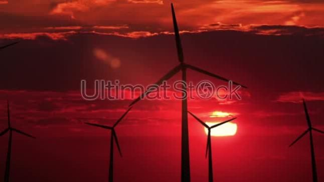 3 wind mills against red sunset - HD