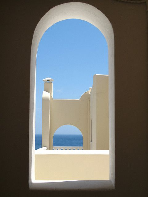 """Other pinner says: """"Greek window, Kyklades, Notio Aigaio, Greece"""", but I think it's a big SEWING MACHINE!"""