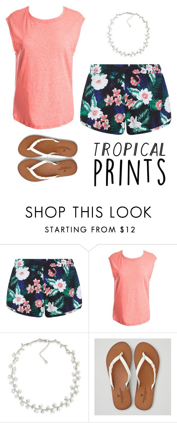 """""""tropical prints"""" by giggle04 ❤ liked on Polyvore featuring New Look, Sans Souci, Carolee, American Eagle Outfitters and tropicalprints"""
