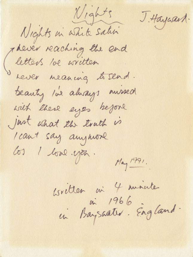 """Justin Hayward of The Moody Blues handwritten signed lyrics for """"Nights in White Satin"""". Rock 'n' Roll Auction, Lot 177 / December 18th, 2013 www.profilesinhis..."""