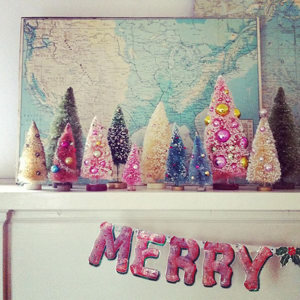 I love these bottlebrush Christmas trees from Merry Mantle by Andrea Jenkins