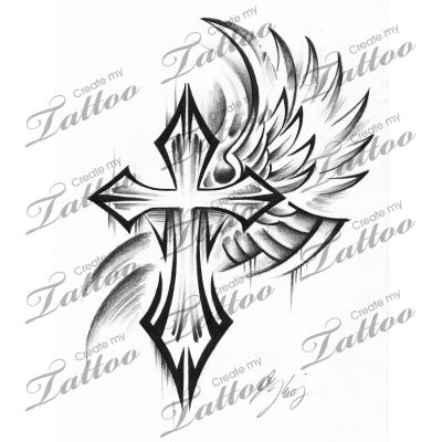 Marketplace Tattoo Tribal Cross #15683 | CreateMyTattoo.com
