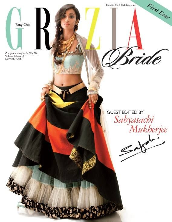 Grazia India November 2013 - whoa, not sure what's going on with this lengha (if it's even considered one), but I like it!