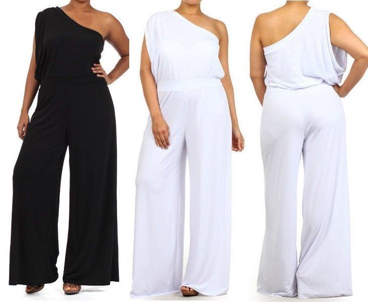 PLUS SIZE WHITE BLACK ONE SHOULDER WIDE LEG PALAZZO PANTS SUIT DRESS ...