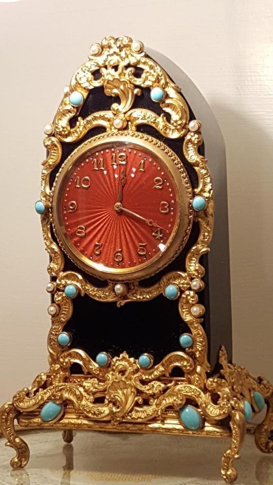 Antique Jeweled * Guilloche Enamel *Black Glass* Gold Ormolu Mantel  SWISS Clock #French