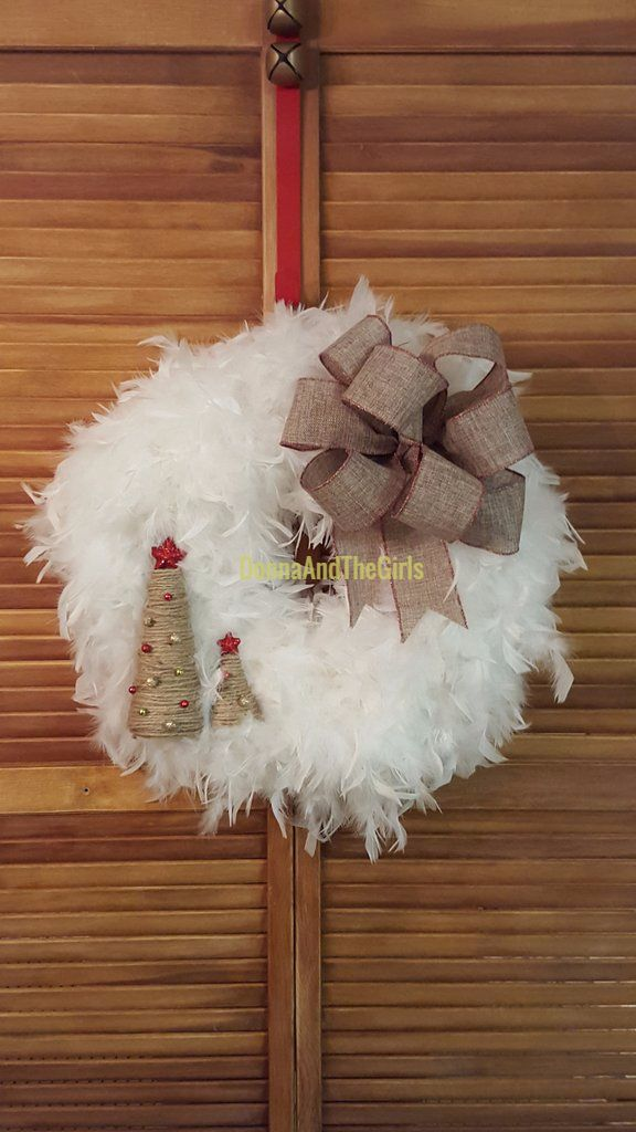 Christmas Wreath - Holiday Wreath - White Feather Boa Wreath