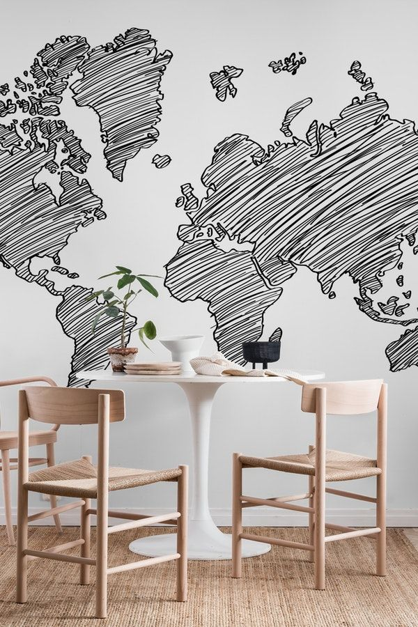 55 best map wall murals images on pinterest drawn world map wall mural gumiabroncs Images