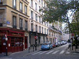 Rue des Fossés Saint-Jacques au niveau de la place de l'Estrapade - Paris 5e (cw12)