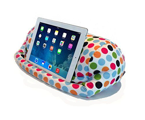 LAP PRO - Stand/Caddy, Universal Beanbag Lap Stand for iPad Air, iPad 1,2,3 & all Tablets, E-Readers, Books & Magazines - Bed, Couch, Travel - Adjustable Angle; 0 - 89 deg. (Polkadot) Renegade Concepts http://www.amazon.com/dp/B00QMO547M/ref=cm_sw_r_pi_dp_s200vb1QPD5JK