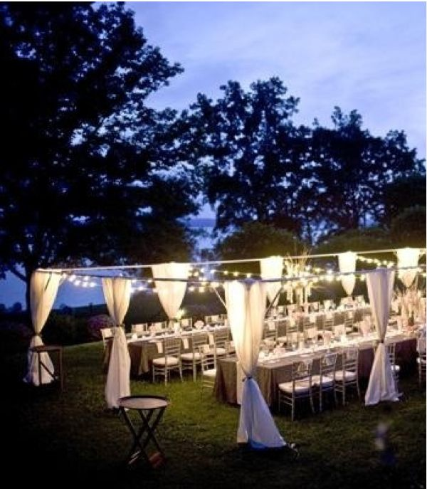 Outdoor Wedding Seating Ideas: How To String Overhead Lights