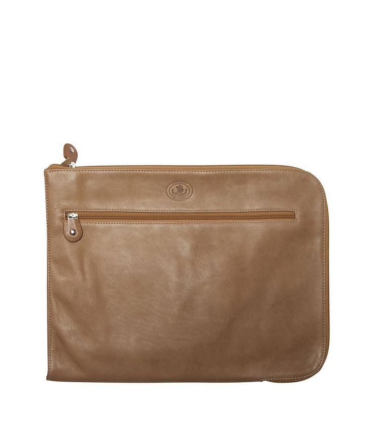 Henk Berg | Zip leather folio | Natural | Vegetable tanned leather |
