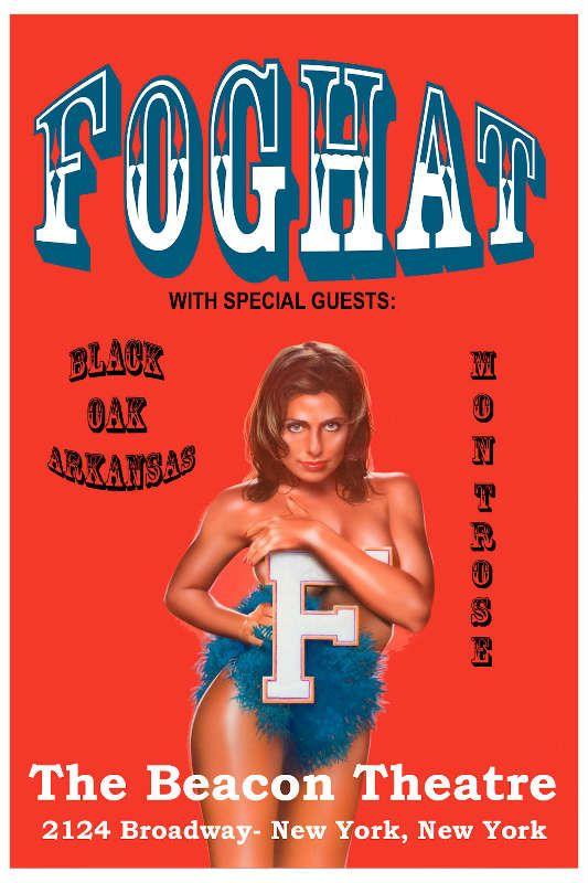 Foghat and Black Oak Arkansasand Montrose - Concert Poster Advertise 1975