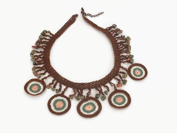 Statement Necklace Crochet Jewelry Turkish Oya Boho by Nakkashe