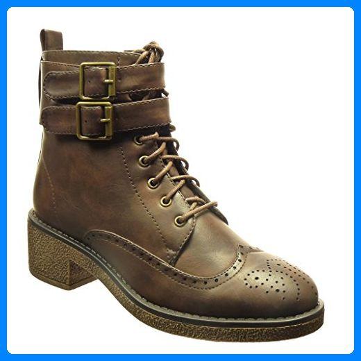 Angkorly - damen Schuhe Stiefeletten - Hohe - Combat Boots - Biker - Schleife - Spitze - Perforiert Blockabsatz high heel 5 CM - Braun AS1568 T 39 - Stiefel für frauen (*Partner-Link)