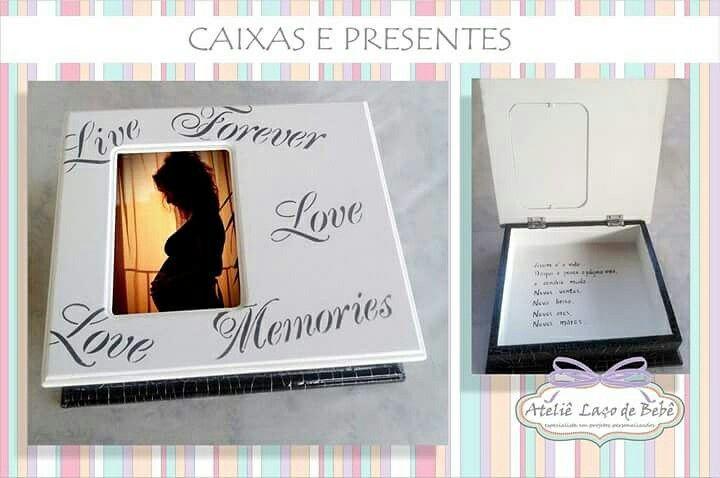 Olha que divino essa Caixa Recordação para guardar cada momento Eterno de sua gravidez... Sim, o Ateliê faz Caixas totalmente personalizadas para as futuras mamães. Ficou um charme não?