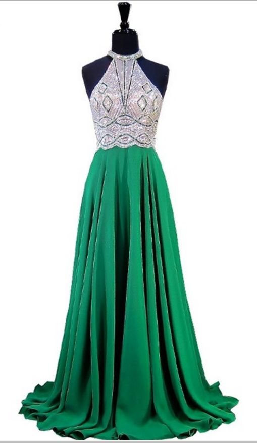 Emerald green evening gown, a sleeveless, sleeveless evening