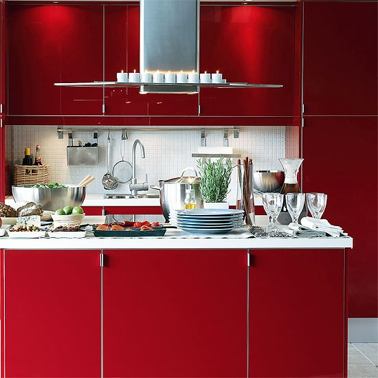 IKEA red kitchen: Red Hot Kitchens, Idea, Movie Rooms, Ruby Red, Style, Ikea Red Kitchens, Hot Chilis Peppers, Ikea Kitchens, Red Cabinets