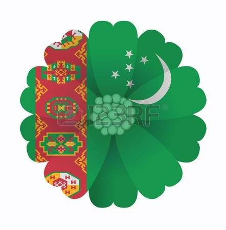 illustration of flower Flag Turkmenistan photo