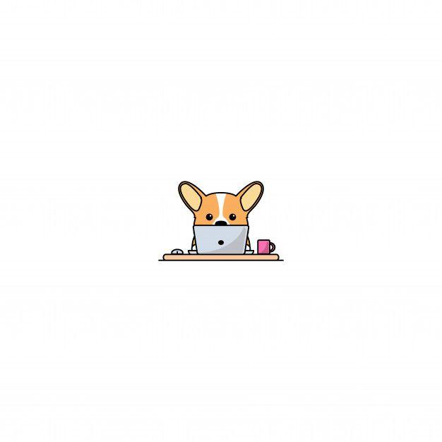 Cute Welsh Corgi Dog Working On A Laptop Cute Dog Drawing Cute Animal Drawings Kawaii Corgi Drawing