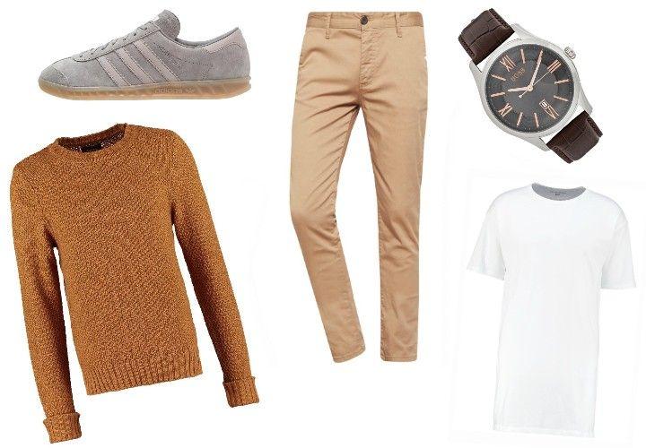 Herbstliche Brauntöne geben die Richtung bei diesem Outfit an. Bequem, lässig und dennoch stylisch genug um im Büro getragen zu werden.